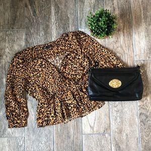 Zara TRF Leopard Peplum Faux Wrap Blouse